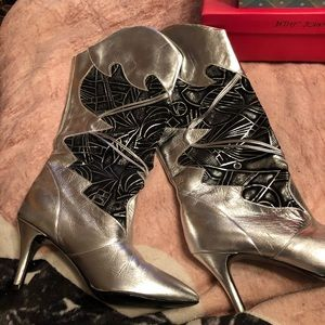 Silver and black all leather boots